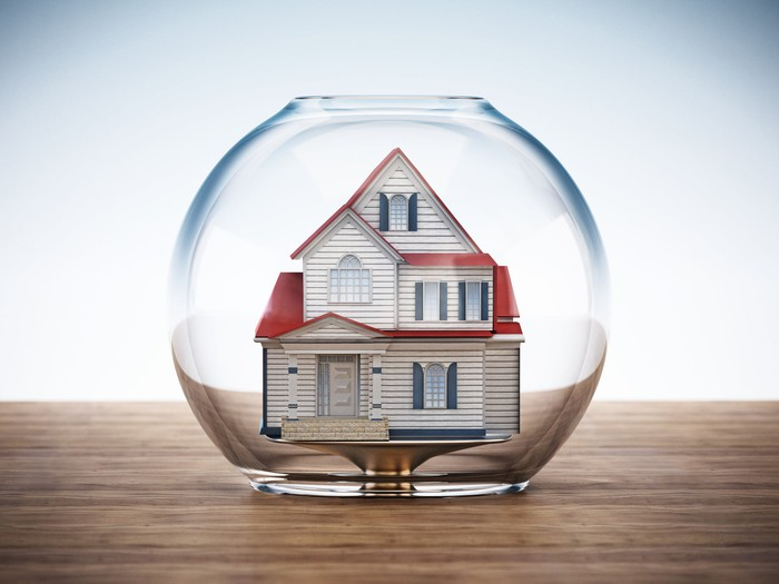 A house in a fish bowl.