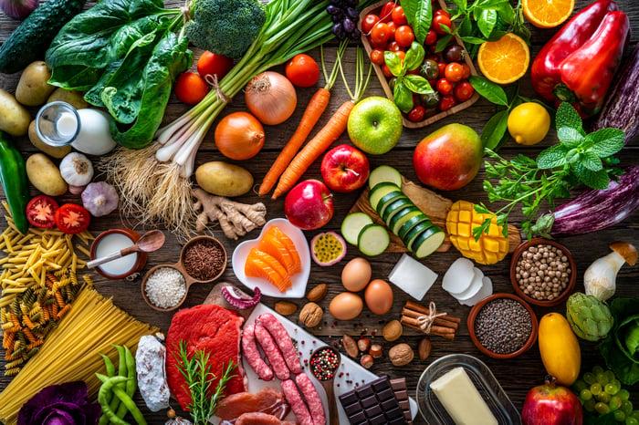 Fresh produce assortment on a table.