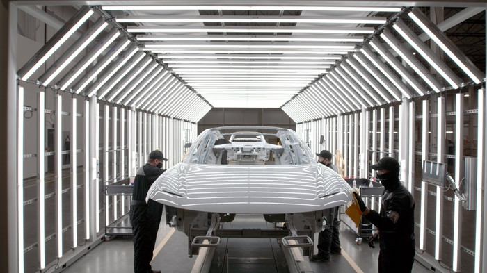 Lucid Air chassis being painted in the factory