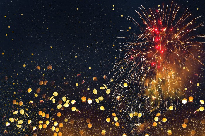 Fireworks and gold coins.