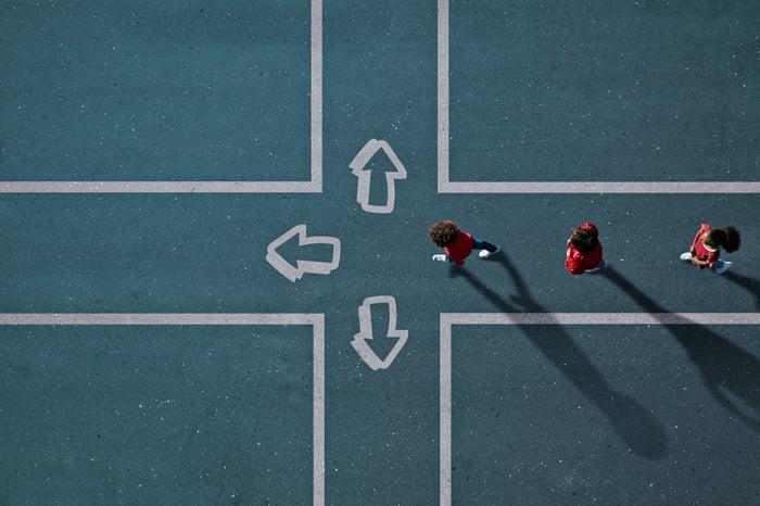 Trois personnes s'approchent d'un carrefour avec trois chemins différents