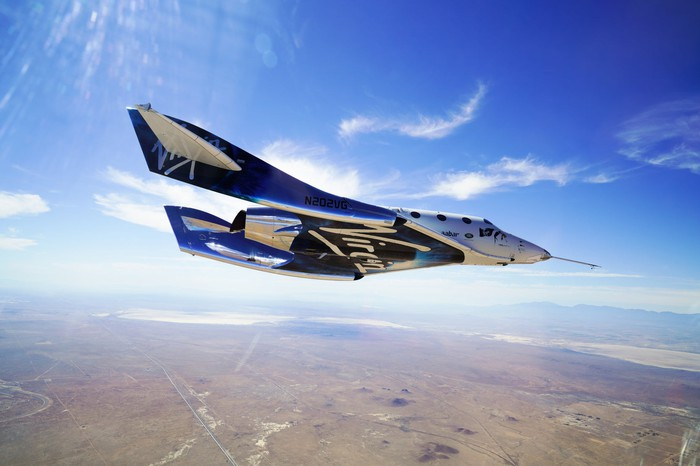 Virgin Galactic's Unity spacecraft is shown in flight with blue sky in the background.