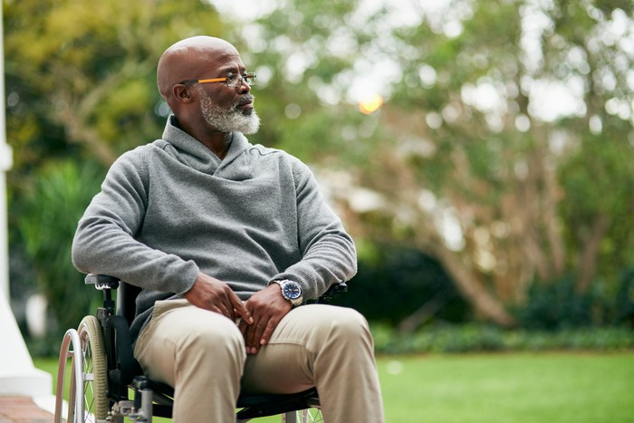 Older person in wheelchair outdoors