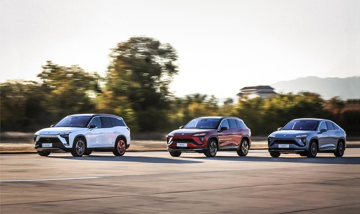 Three NIO models on the road.