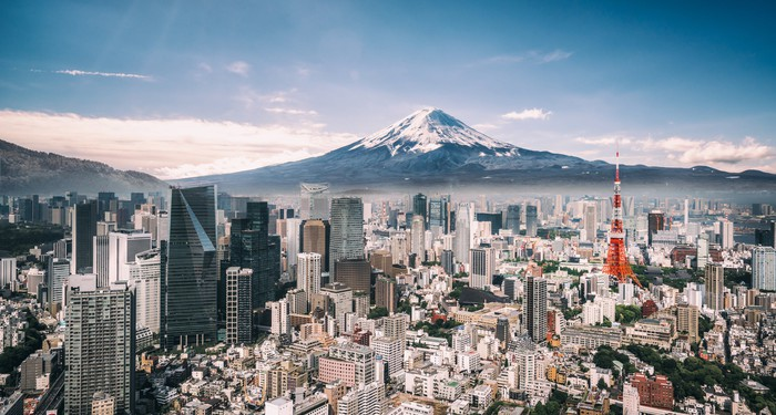 A view of Mt. Fuji from downtown Tokyo.