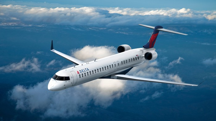 A 76-seat regional jet in the Delta livery.