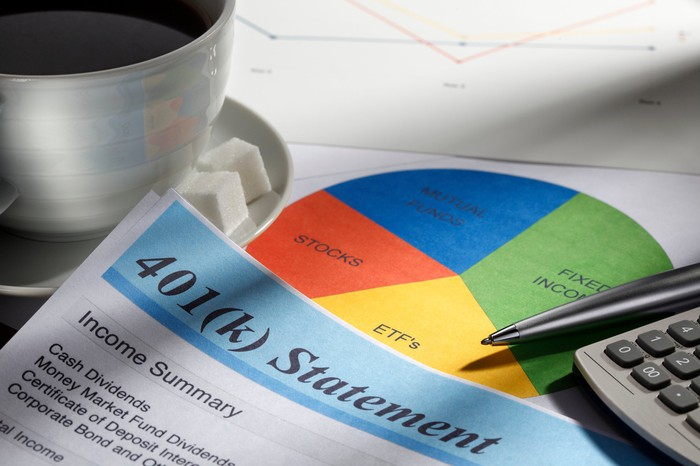 A 401k statement sitting on a table next to a piece of paper with a pie chart and a calculator.
