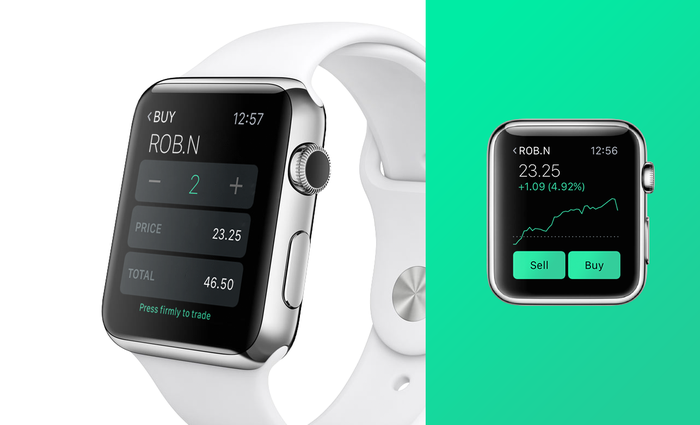 Robinhood ticker on smartwatch.