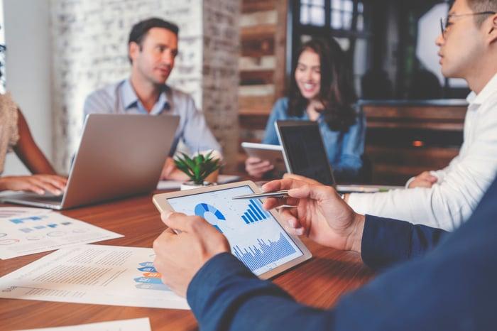 Une réunion de groupe où les participants examinent les indicateurs commerciaux sur des tablettes ou des ordinateurs portables.