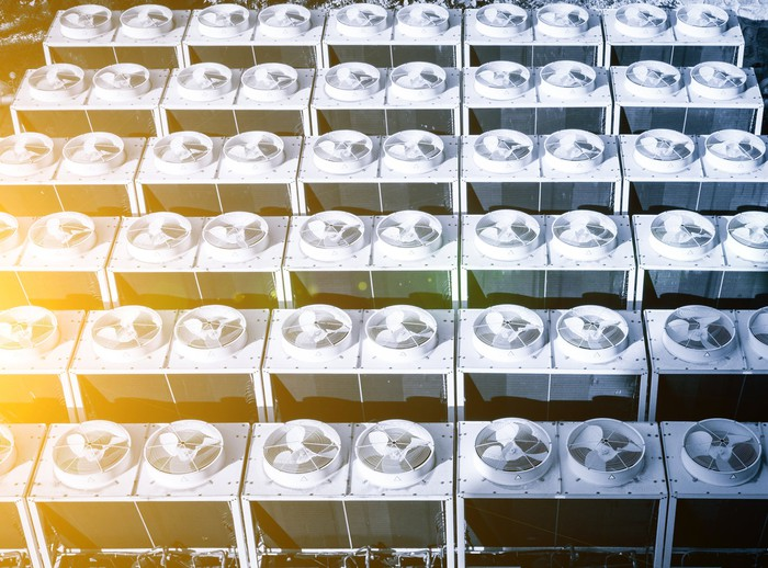 Rows of air conditioning units.