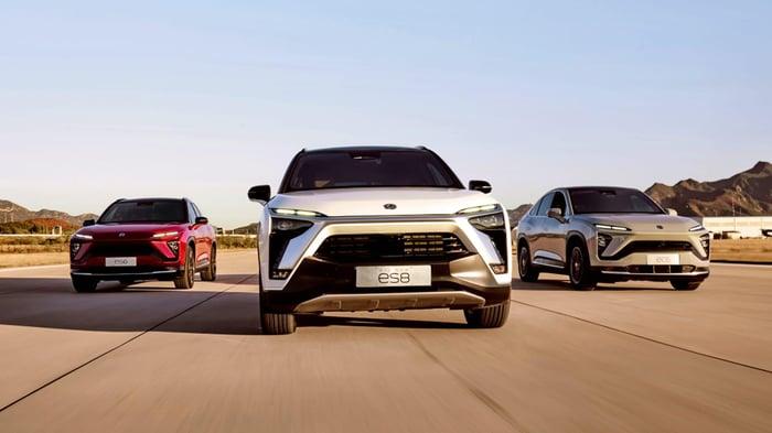 Three of NIO's upscale electric SUVs.