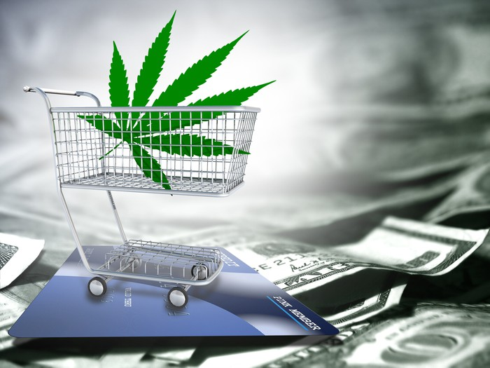Cannabis leaf in a tiny shopping cart with U.S. cash in the background.