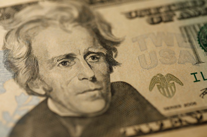 An up-close view of Andrew Jackson's portrait on a twenty dollar bill.