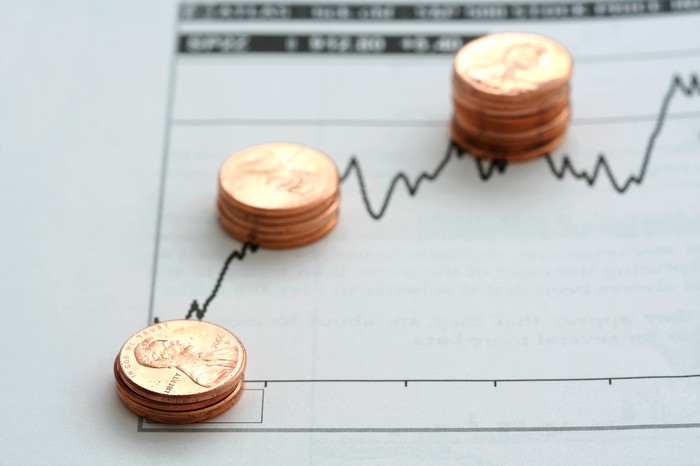 Stacks of pennies on a rising stock chart