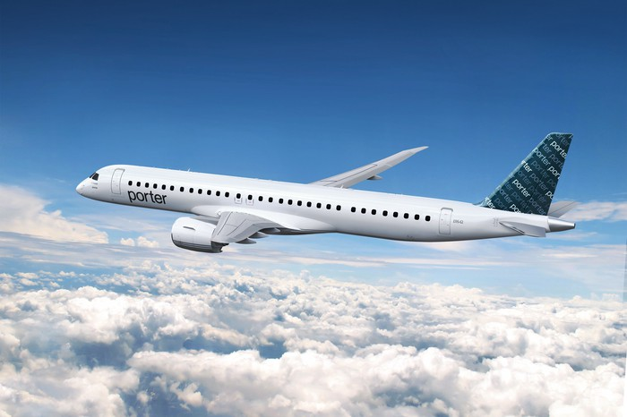A rendering of an Embraer E195-E2 in the Porter Airlines livery.