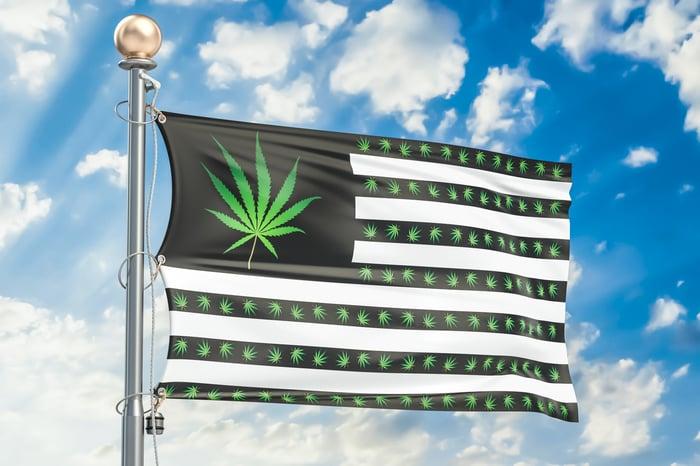 A U.S. flag with a cannabis leaf where stars should be.