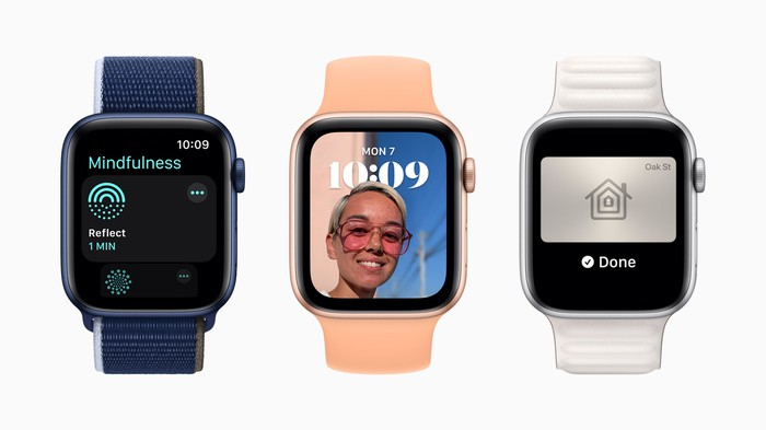 three different Apple Watch 8s are lined up showing various functions.