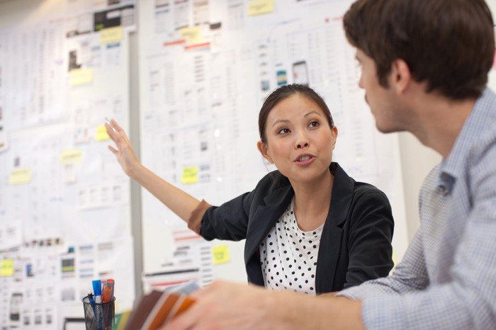 Two people discuss business results in the form of extensive notes posted on a whiteboard.