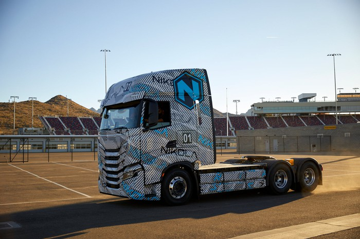 Nikola battery electric semi-truck tractor on a test track.