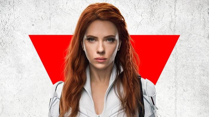 Scarlett Johansson as the Black Widow.