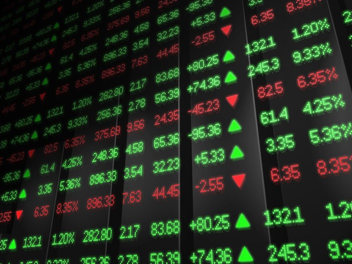 stock information colored in red and green is lit up on a board
