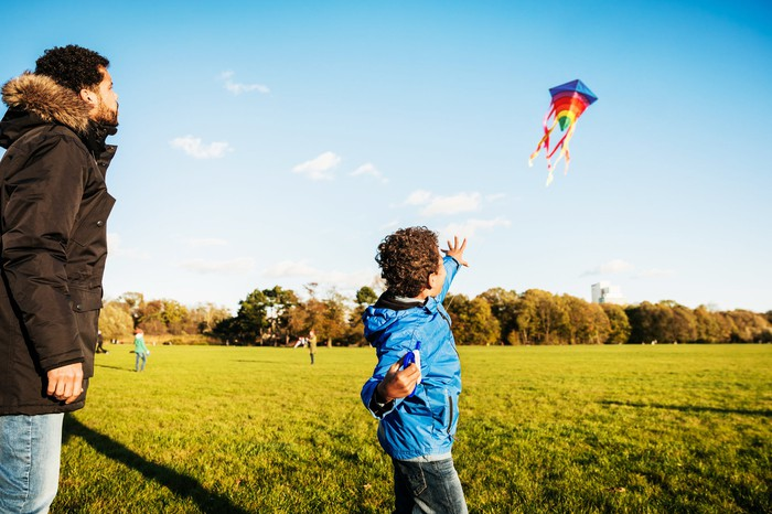An adult and child fly a kite together on a sunny day.