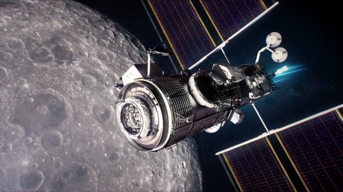 Artist's depiction of the Lunar Gateway Habitation and Logistics Outpost.