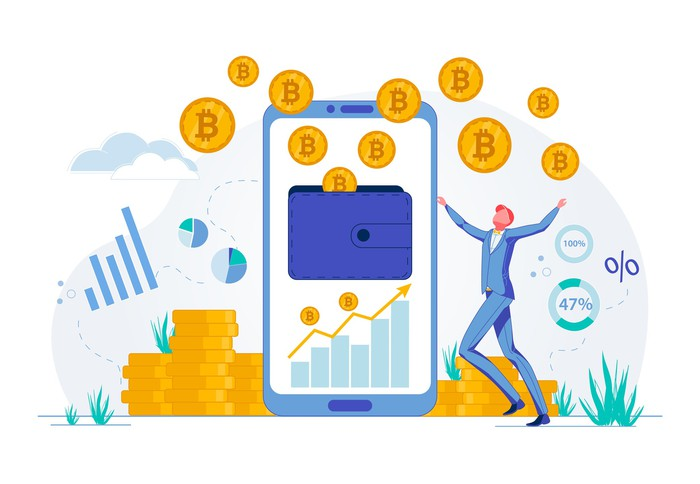 Cartoon man in suit next to a smartphone and surrounded by a cloud of Bitcoins