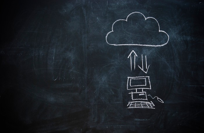 A chalkboard drawing of files being uploaded to the cloud.