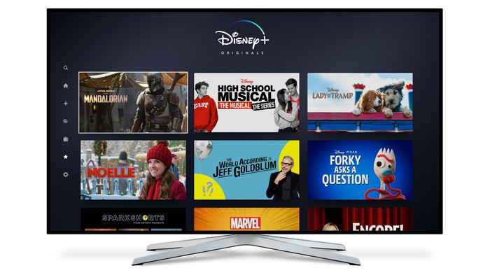 Disney+ Content on a TV.