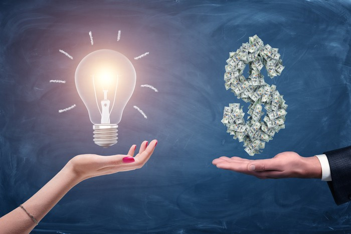 A drawing of a light bulb above an outstretched hand near a drawing of a dollar sign made of cash above another outstretched hand.