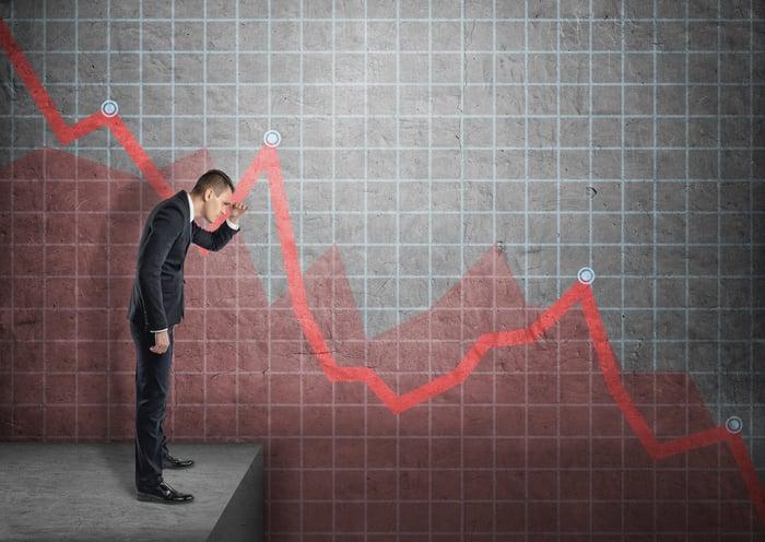 Investor watching red trend line plunge.