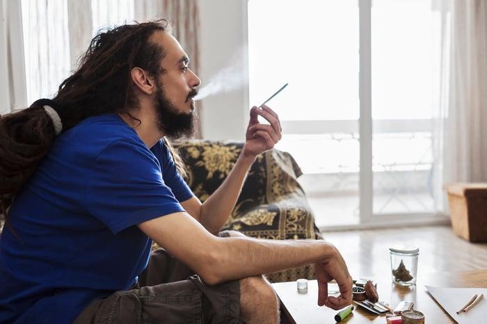 Smoking a high-concentration marijuana joint.