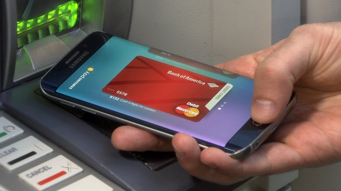 A person using digitally stored information on their smartphone at an ATM.