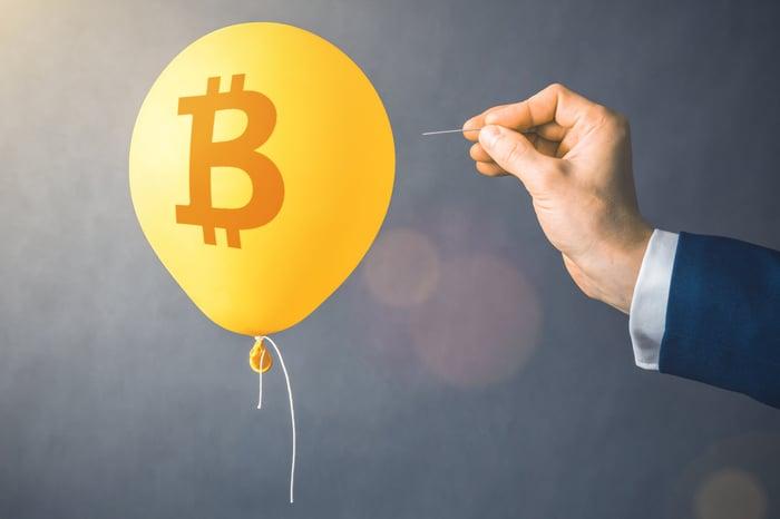 Popping Bitcoin balloon.