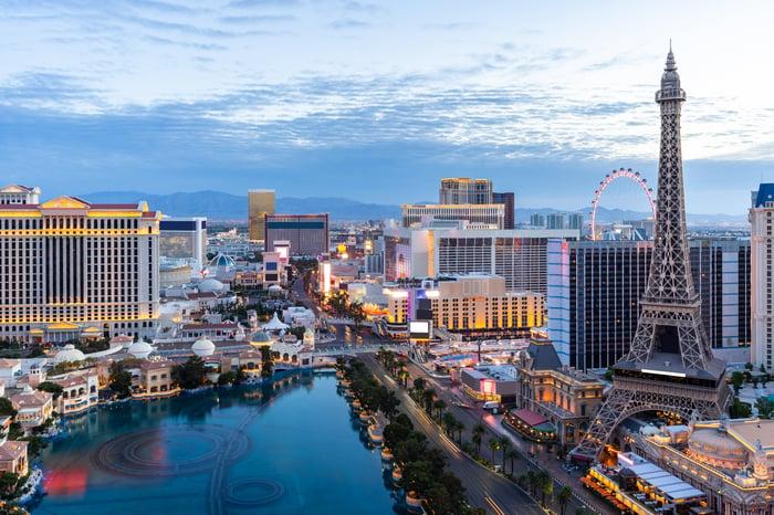 Aerial view of Las Vegas Strip at dusk.