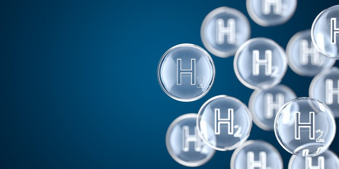 The chemical symbol for hydrogen in multiple bubbles.
