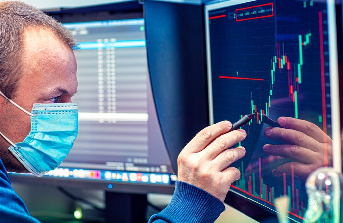 A person in a mask analyzing a stock price chart on a computer screen.
