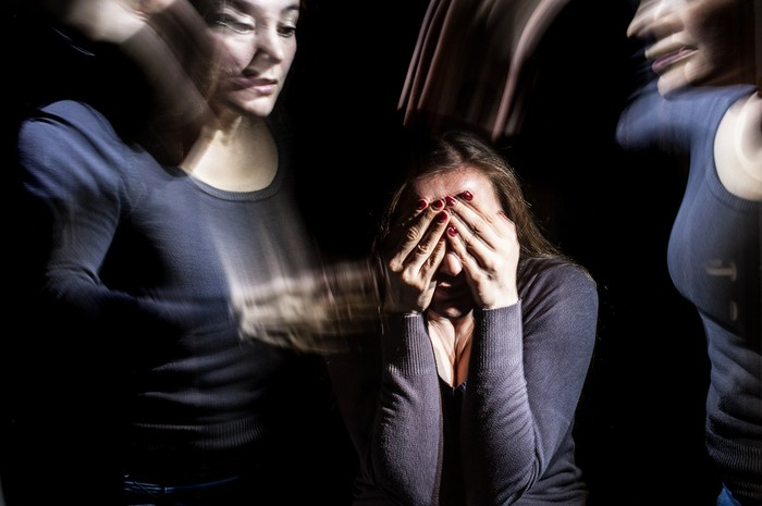 Distorted view of a person having mental difficulties.