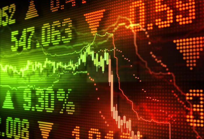 Un graphique boursier vert plongeant profondément dans le rouge, avec des prix, des flèches et des pourcentages en arrière-plan.