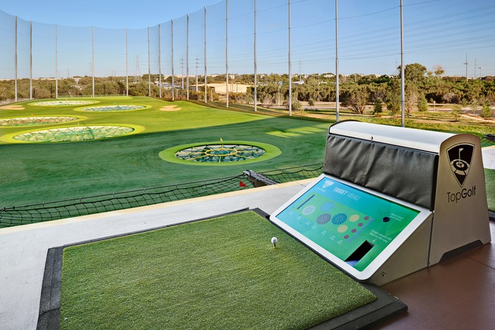 The driving range at a Topgolf location in Austin, Texas.