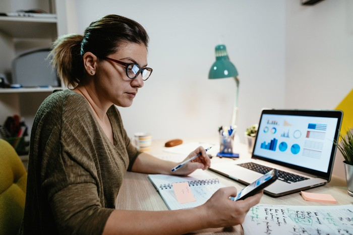 Female investor sitting at a desk, reviewing her portfolio.