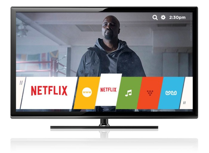 A flatscreen TV shows an image of a TV character with logos for different streaming networks, including Netflix, arrayed across the bottom of the screen.