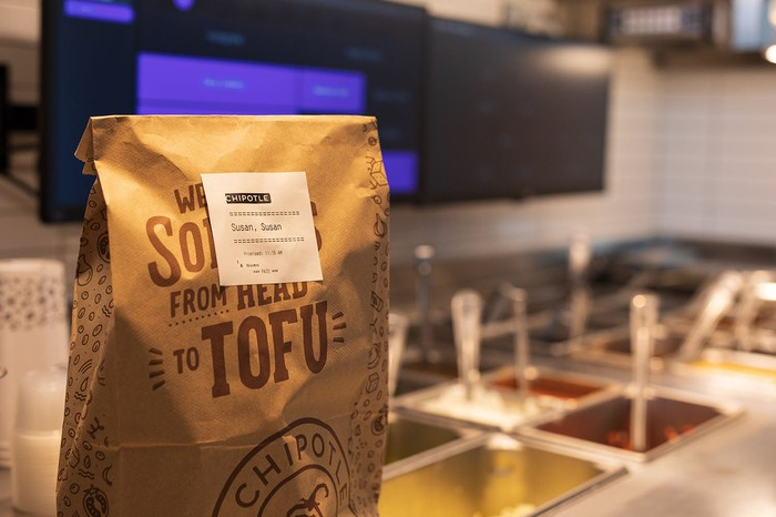 Chipotle online order bag.