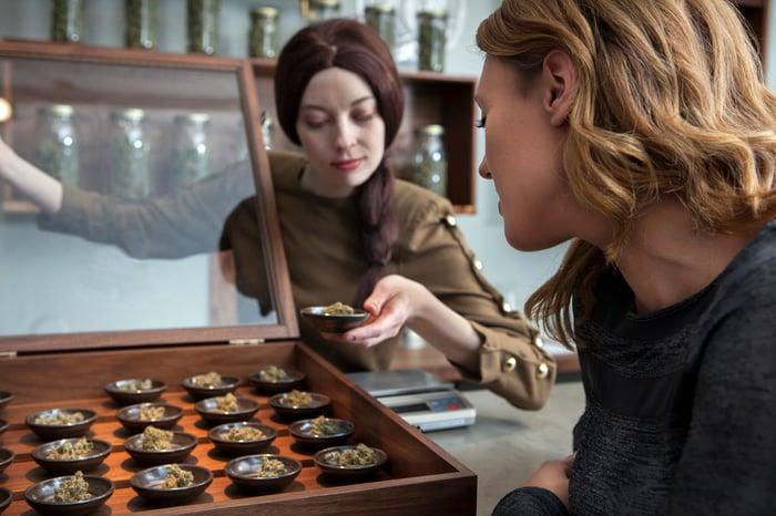 A customer and an employee at a marijuana dispensary looking at product.