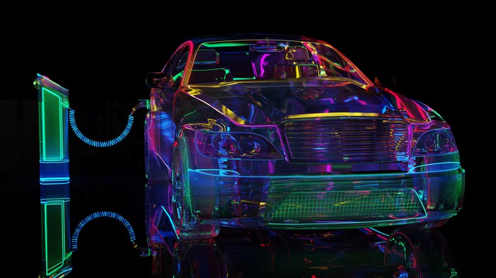 Neon representation of an electric vehicle.