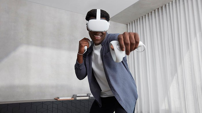 Person playing games on the Oculus Quest 2.