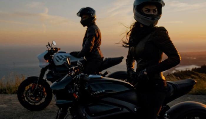 Motorcycle riders on Halrey LiveWire One bikes.