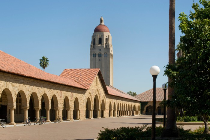 Colonnade and Hoover Tower at Stanford University