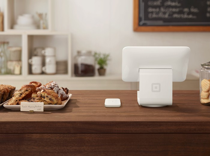 Square POS hardware at a bakery.